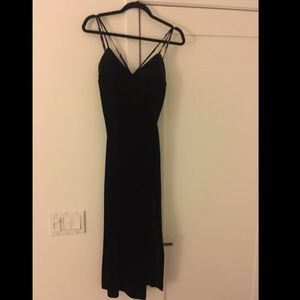 Bardot black velvet dress